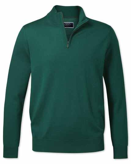 Dark green merino zip neck jumper