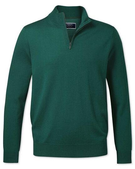 Dark green merino zip neck jumper