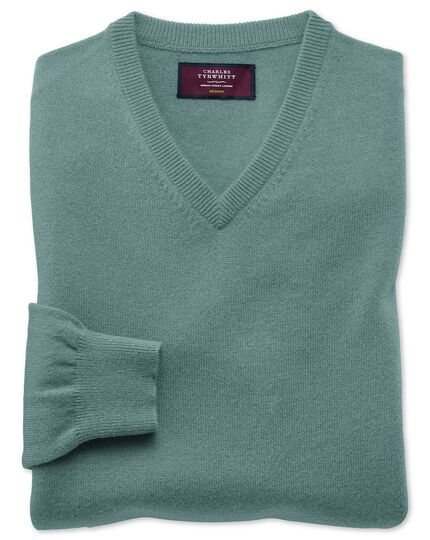 Light green cashmere v-neck jumper
