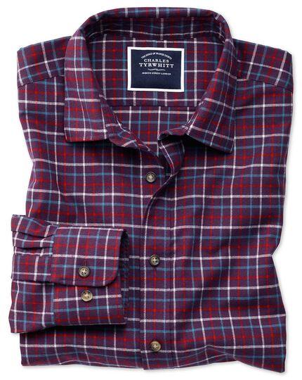 Gebürstetes Slim Fit Hemd mit Karomuster in Violett und Rot