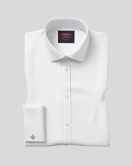 Semi-cutaway Collar Luxury Twill Shirt  - White