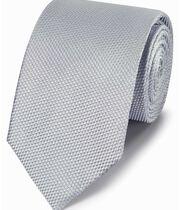 Silver silk plain classic tie