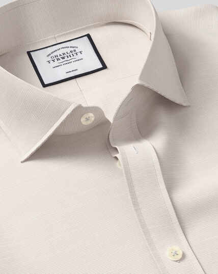 Spread Collar Non-Iron Cotton Slub Shirt - Stone