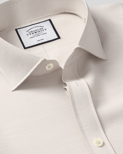 Cutaway Collar Non-Iron Cotton Slub Shirt - Stone