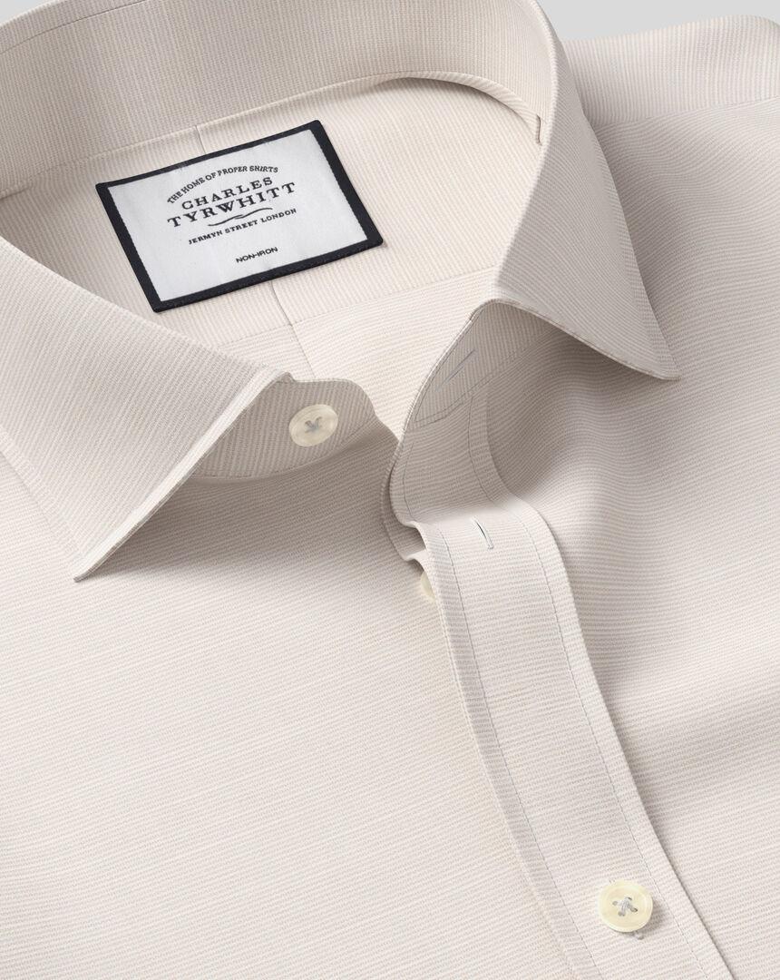 Spread Collar Non-Iron Cotton Slub Shirt - Stone