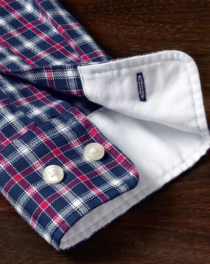 Slim fit blue and red check washed Oxford shirt