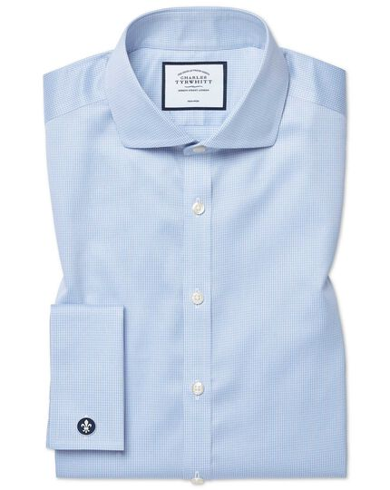 Super slim fit cutaway collar non-iron puppytooth sky blue shirt