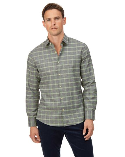Extra slim fit cotton with TENCEL™ grey and green Prince of Wales check shirt