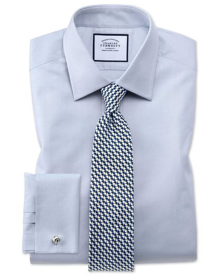 Classic fit Egyptian cotton trellis weave grey shirt