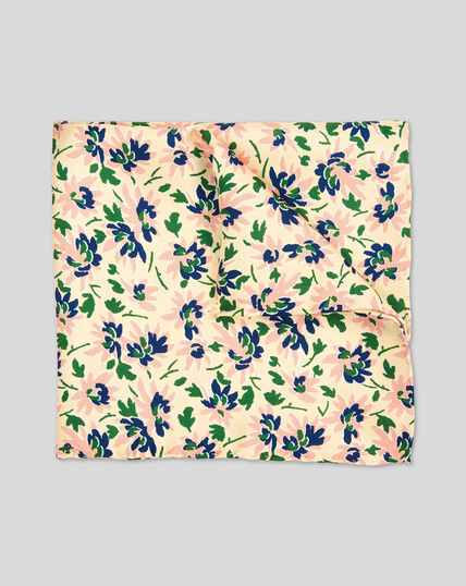 Floral Print Pocket Square - Light Yellow