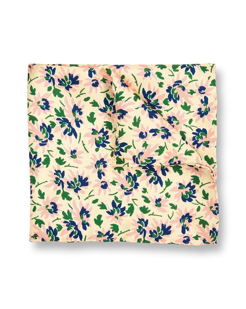 Einstecktuch mit floralem Print - Hellgelb