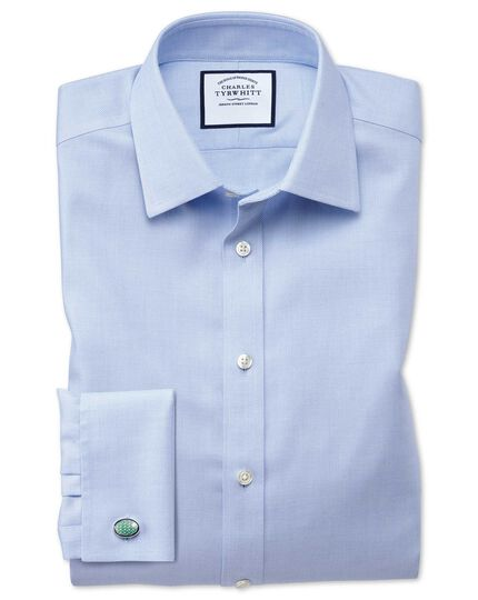 Extra slim fit non-iron step weave sky blue shirt