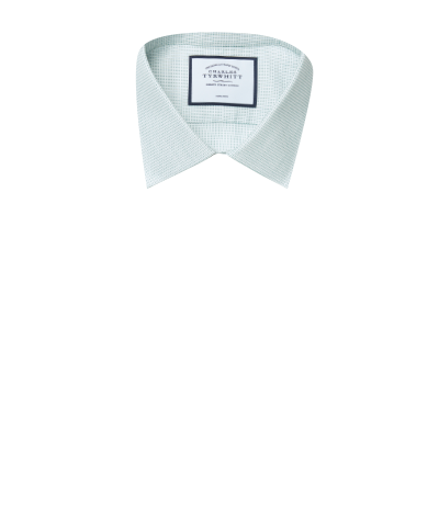 Slim fit non-iron dash weave green shirt