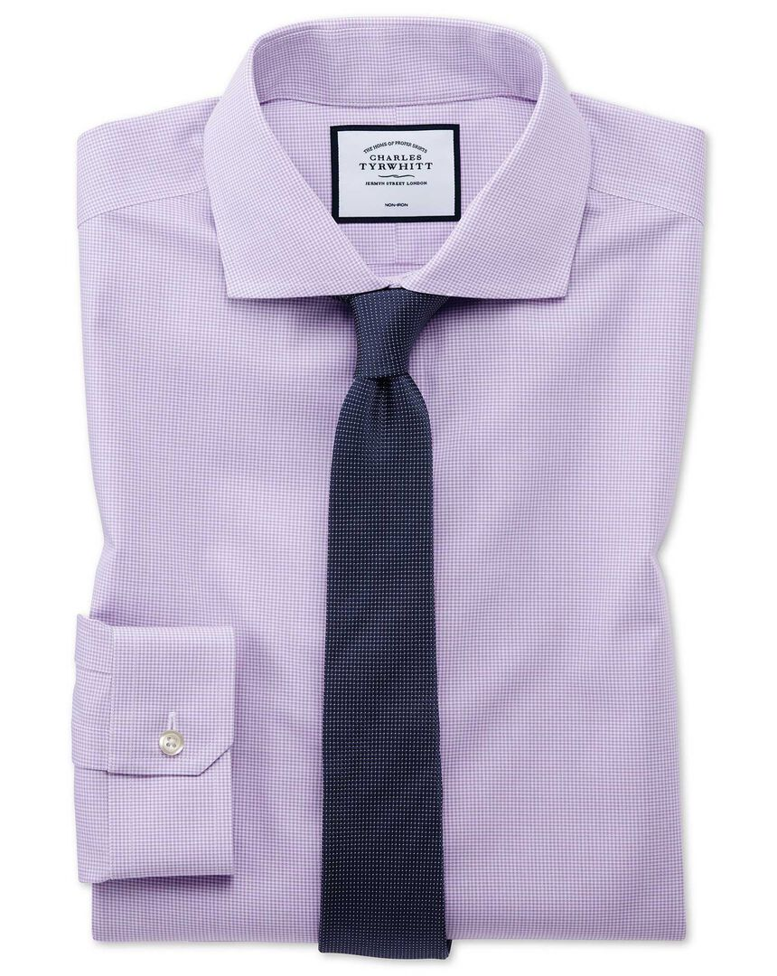 Super slim fit non-iron 4-way stretch lilac check shirt