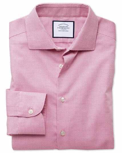 Bügelfreies Classic Fit Business-Casual-Hemd mit Semi-Haifischkragen aus modernem Strukturgewebe in Rosa