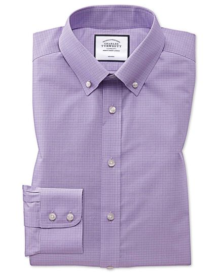 Extra slim fit button-down non-iron lilac Prince of Wales check shirt