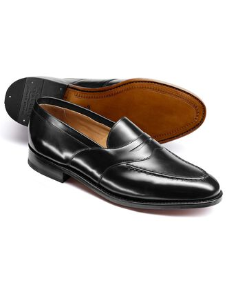 Black Goodyear welted saddle loafer