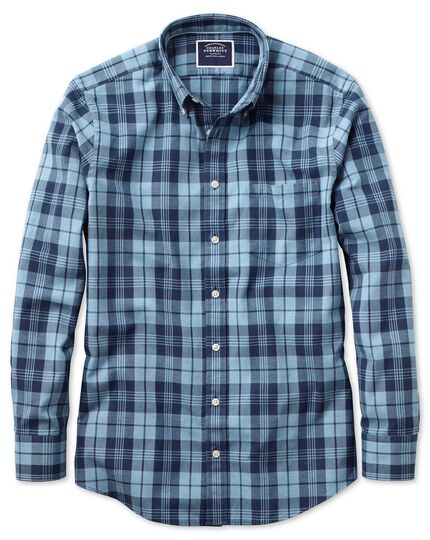 43f2ab511a4 Classic fit button-down washed Oxford navy and blue check shirt ...