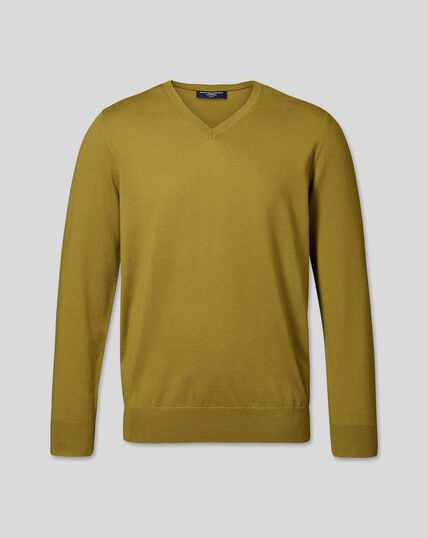 Merino V-Neck Sweater - Chartreuse