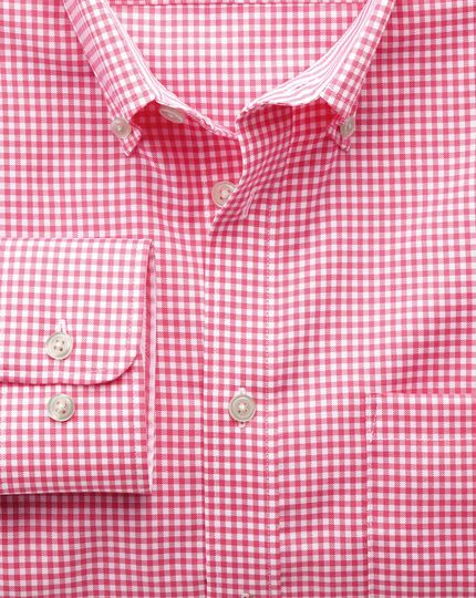 Extra slim fit button-down non-iron Oxford gingham pink shirt