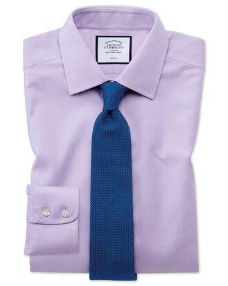 Bügelfreies Classic Fit Hemd aus Triangle Gewebe in Flieder