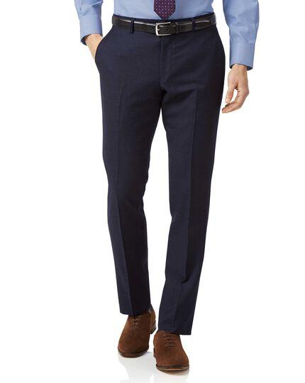 Navy slim fit jaspe business suit trousers