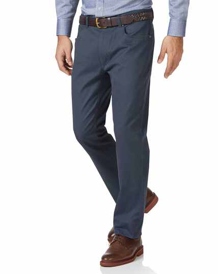 Airforce blue slim fit 5 pocket Bedford corduroy trousers