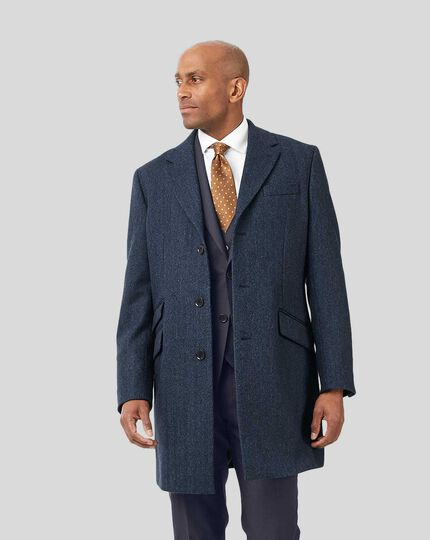 Herringbone British Wool Cotton Epsom Coat - Blue