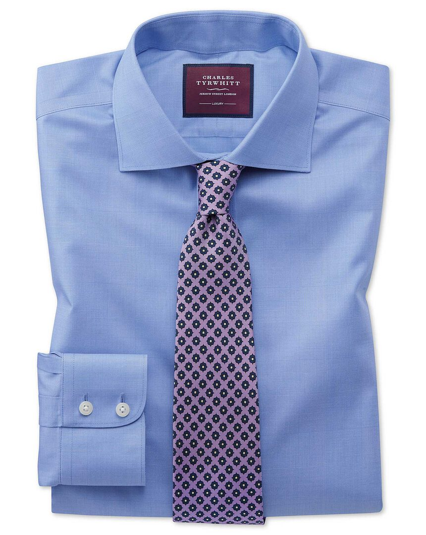 Slim fit luxury non-iron Prince of Wales check blue shirt