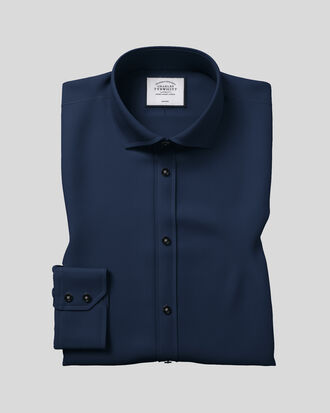 Slim fit spread collar non-iron twill navy blue shirt