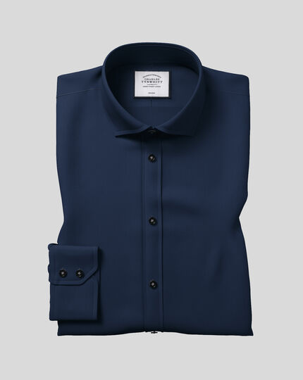 Slim fit cutaway non-iron twill navy blue shirt