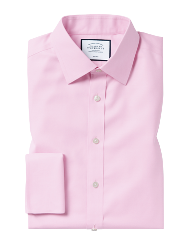 Slim fit pink non-iron twill shirt