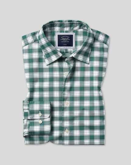 Classic fit green and white check soft wash non-iron stretch oxford shirt