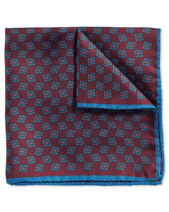 Burgundy blue luxury English printed geometric pocket square