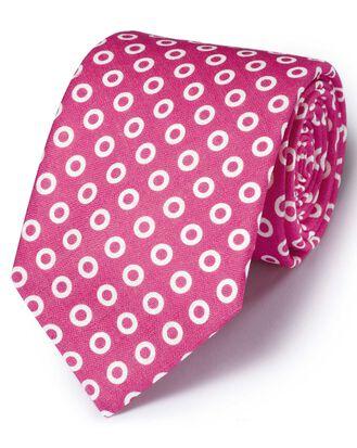 Pink linen  English luxury spot tie