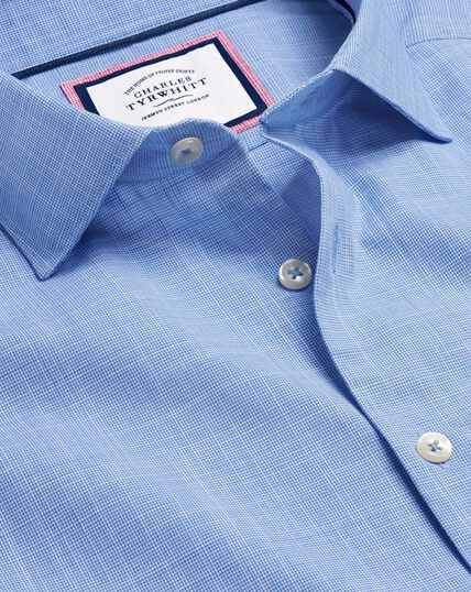 Business Casual Collar Cotton Slub Shirt - Blue