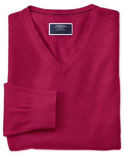 Dark pink v-neck merino jumper