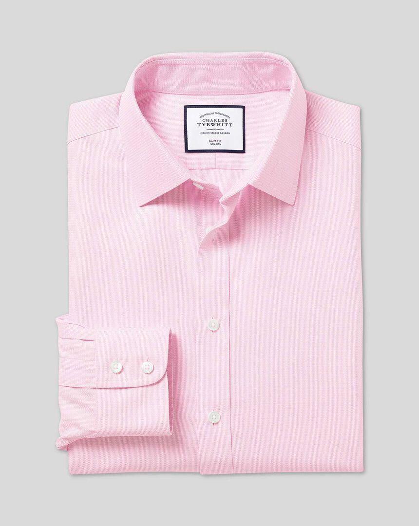 Classic Collar Non-Iron Mini Herringbone Shirt - Pink