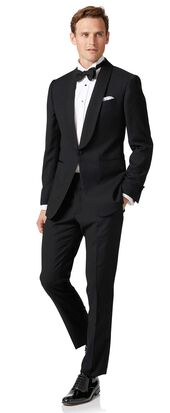 Black extra slim fit shawl collar dinner suit
