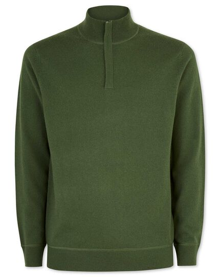 Dark green merino cashmere zip neck jumper