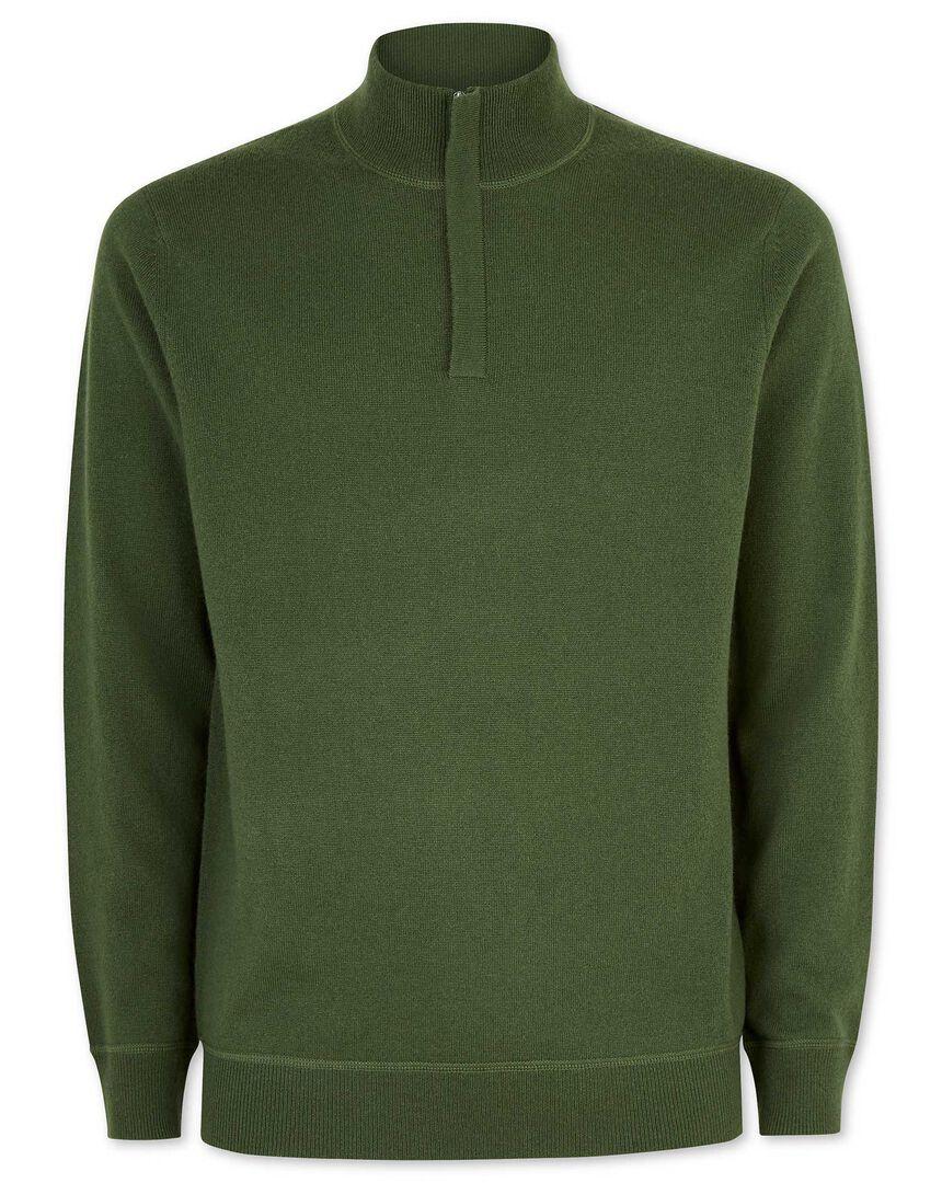 Dark green merino cashmere zip neck jumper