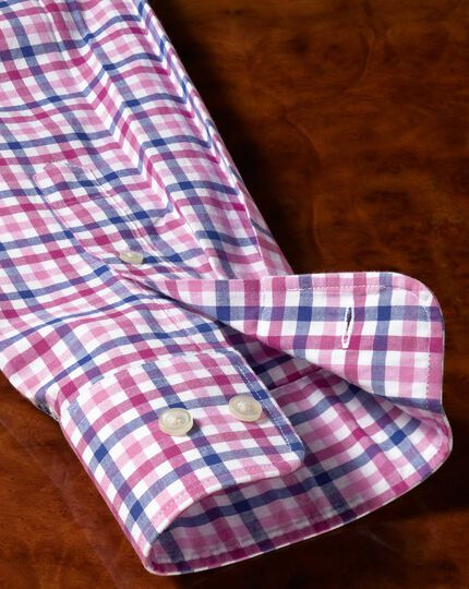 Slim fit poplin pink multi gingham shirt