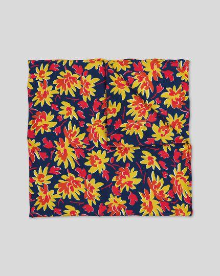 Multi Floral Print Pocket Square - Red Multi