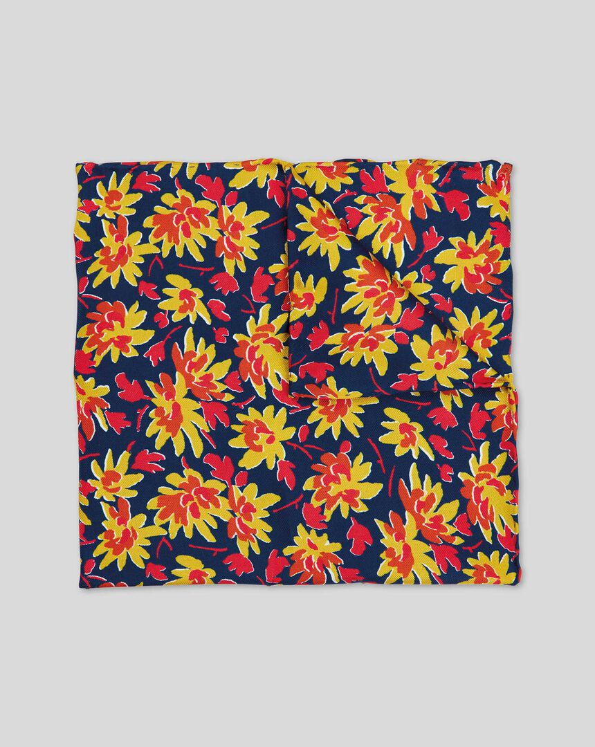 Multi Floral Print Pocket Square - Red Multi