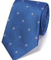 Klassische Krawatte aus Seide mit Heraldischer Lilie in Himmelblau und Weiß