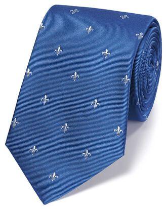 Sky blue and white silk Fleur-de-Lys classic tie