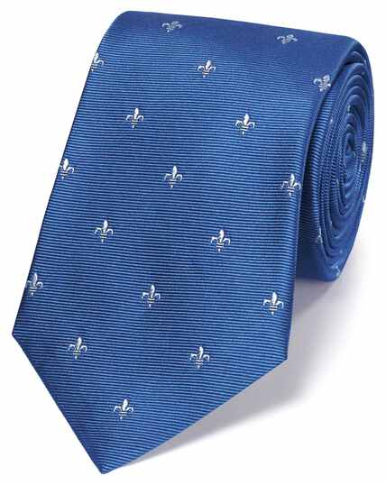 Cravate classique bleu ciel et blanche en soie à imprimé fleurs de lys