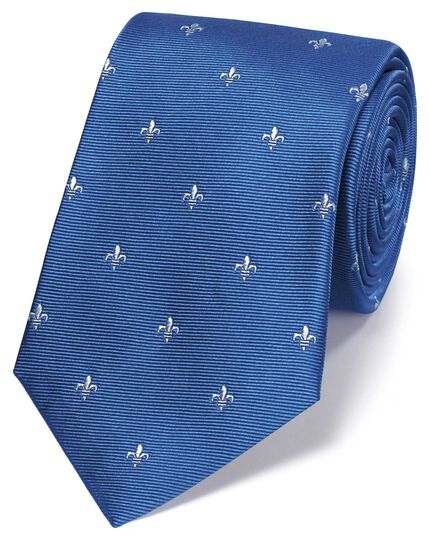 Sky blue and white silk Fleur-de-Lys classic tie