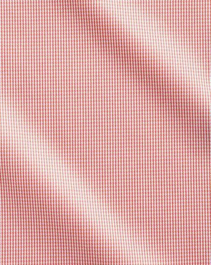Bügelfreies Extra Slim Fit Hemd mit Haifischkragen in KorallenRot mit Hahnentritt