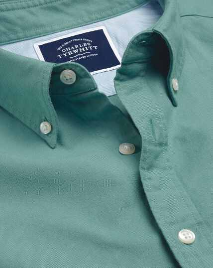 Button-Down Collar Washed Oxford Shirt - Aqua